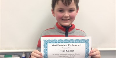 Rylan Gainey in Mrs. Rachel's 1st grade class has mastered 10 levels on Math Facts in a Flash! Way to Go Rylan!